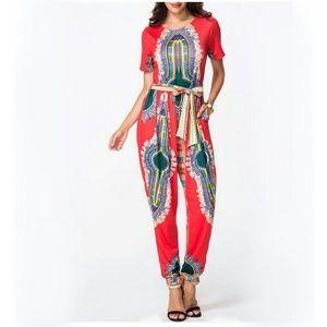 Pants - Dashiki Print Jumpsuit